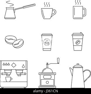Coffee line icons set. Vector thin icons coffee machine, cups, coffee beans and coffee pots. - Stock Photo