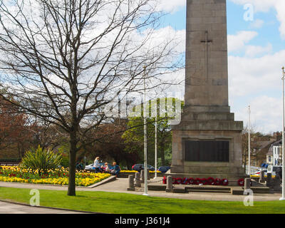 The beautiful gardens in the Middle of the Montpellier district of Harrogate in the spring, showing the Cenotaph - Stock Photo