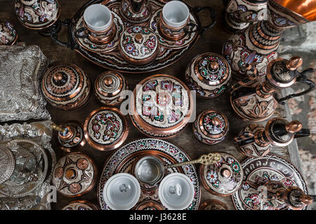 Traditional handcrafted copper coffee pots in souvenir shops in Sarajevo. Bosnia and Herzegovina.