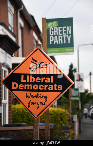 Norwich 2 days before the local elections. 2 May 2017. UK. Green Party & Liberal Democrats signs - Stock Photo