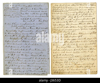 Antique c1860 hand written sermon from a traveling preacher. The one on the left draws from Matthew 15:37 'And they - Stock Photo