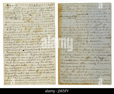 Antique c1860 hand written sermon from a traveling preacher. The one on the left draws from Romans 4:18 'Who against - Stock Photo