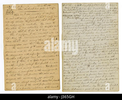 Antique c1860 hand written sermon from a traveling preacher. The one on the left draws from Matthew 19:18 'He saith - Stock Photo