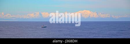Sunset at the mountains of Alaska - Stock Photo