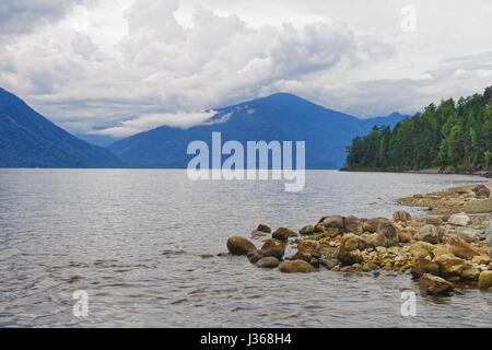 Mountain Altai, Teletskoe lake, view from the eastern shore