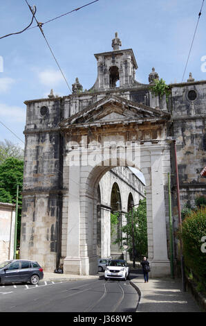 Lisbon, Triumphal arch, Aguas Livres, aqueduct pure drinking water - Stock Photo