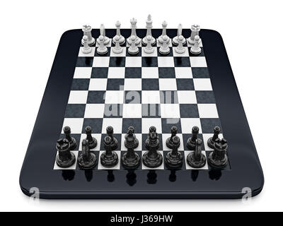 Black and white chess pieces standing on tablet computer. 3D illustration. - Stock Photo