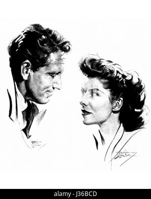 Spencer Tracy, Katharine Hepburn  Charcoal drawing by Bettina Steinke.  It is forbidden to reproduce the photograph - Stock Photo