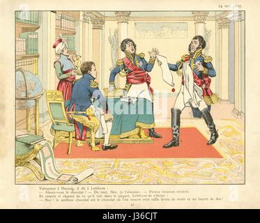 Danzig surrender given to Maréchal François Joseph Lefebvre on May 24, 1807.    Illustration on page 31 of the book - Stock Photo
