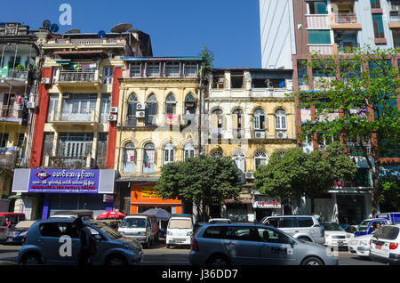 Colonial Buildings, Yangon, Myanmar - Stock Photo