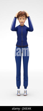 Panicky, Restless and Discouraged Jenny - 3D Cartoon Female Character Sports Model - Scared, Puzzled by Problem - Stock Photo