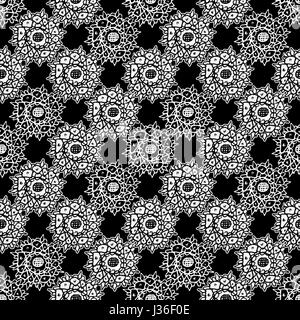 Mixed media collage technique stars motif hand draw graphic ornate seamless pattern design in black and white colors - Stock Photo