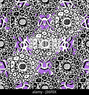 Mixed media collage technique stars motif hand draw graphic ornate seamless pattern design in violet, black and - Stock Photo