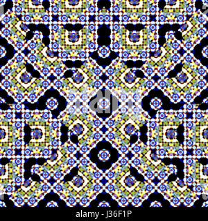 Digital collage technique islamic stlye art ornate seamless pattern design in mixed colors against black - Stock Photo