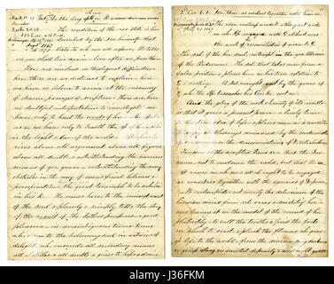 Antique c1860 hand written sermon from a traveling preacher. The one on the left draws from Mark 12:25 'For when - Stock Photo
