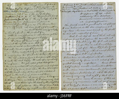 Antique c1860 hand written sermon from a traveling preacher. The one on the left draws from John 15:11 'These things - Stock Photo