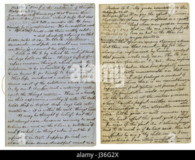 Antique c1860 hand written sermon from a traveling preacher. The one on the left draws from Hebrews 11:1 'Now faith - Stock Photo