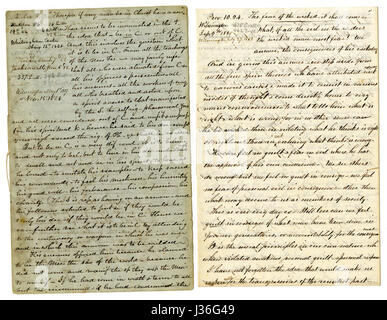 Antique c1860 hand written sermon from a traveling preacher. The one on the left draws from 2 Corinthians 5:17 'Therefore - Stock Photo
