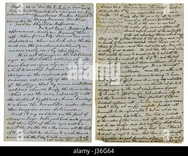 Antique c1860 hand written sermon from a traveling preacher. The one on the left draws from Psalms 84:11 'For the - Stock Photo