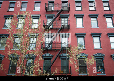brick apartment building. Red Grunge Wall  Old Brick Apartment Building In New York City Stock Photo