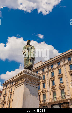 Monument to writer and poet Giuseppe Parini on Piazza Cordusio in Milan, Italy - Stock Photo