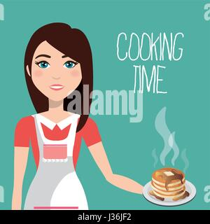 cute woman cooking in the kitchen - Stock Photo