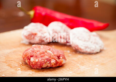 meatballs and red pepper - Stock Photo