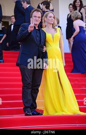 Celebration of the 20th birthday of 'Pulp fiction' : Quentin Tarantino, Uma Thurman  67th Cannes film Festival  - Stock Photo