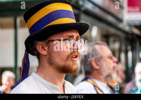 Traditional Morris Dancers Performing In The High Street, Lewes, Sussex, UK - Stock Photo