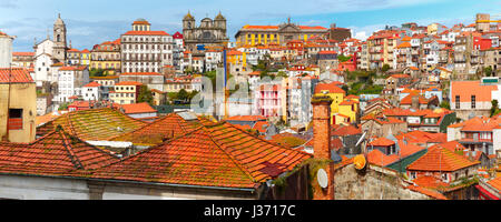 Fun colorful houses in Old town of Porto, Portugal - Stock Photo