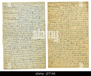 Antique c1860 hand written sermon from a traveling preacher. The one on the left draws from Isaiah 55:8 'For my - Stock Photo