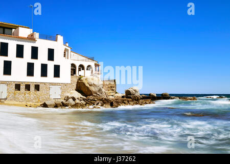 a view of the Malaspina Beach in Calella de Palafrugell, Costa Brava, Catalonia, Spain, with its characteristics - Stock Photo
