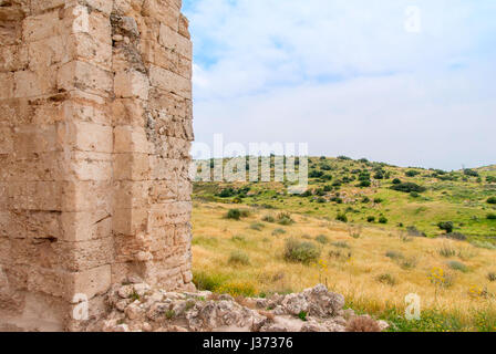 Ruins of Crusader Church of St Anne in Bet Guvrin-Maresha National Park. It was one of the most important towns - Stock Photo