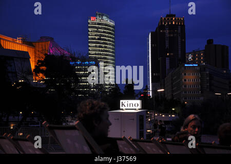 Beautiful skyline of Potsdamer Platz, Berlin, seen from the open air cinema at Kulturforum.