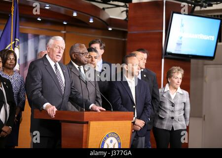 U.S. House Minority Whip Steny Hoyer of Maryland joins Democrats to speak about immigrants rights during a news conference on Capitol Hill May 1, 2017 in Washington, DC.