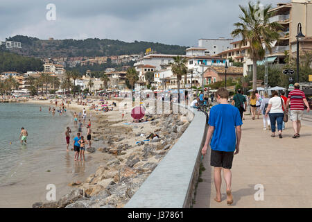 seafront in Port de Sóller, Mallorca, Spain - Stock Photo