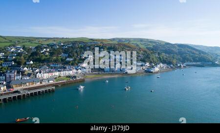Aerial photography of the village of Aberdovey / Aberdyfi and the Dovey / Dyfi Estuary - Stock Photo