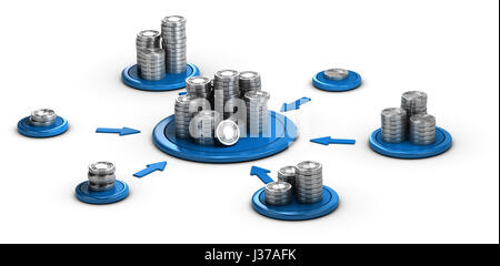 Stacks of generic coins over white background with blue arrows pointing the highest pile. Conceptual 3D illustration - Stock Photo
