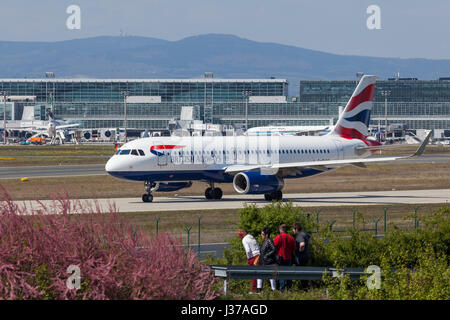 Frankfurt, Germany - March 30, 2017: British Airways Airbus A321-231 at the Frankfurt international airport - Stock Photo