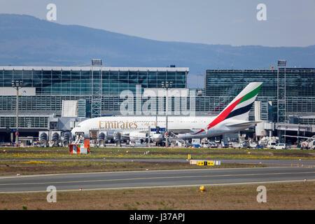 Frankfurt, Germany - March 30, 2017: Emirates Airbus A380 at the Frankfurt international airport - Stock Photo