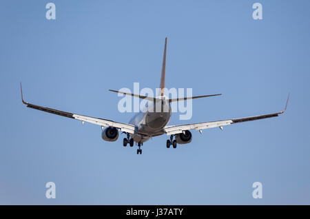 Frankfurt, Germany - March 30, 2017: Pegasus airlines Boeing 737 landing at the Frankfurt international airport - Stock Photo