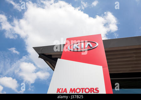 Frankfurt, Germany - March 30, 2017: Kia Motors dealership in the city of Frankfurt. Toyota is world's leader in - Stock Photo