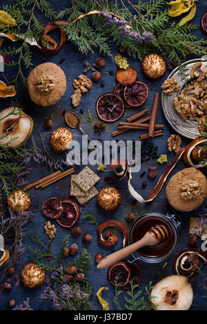 Freshly baked pastry with ingredients on a blue wooden table. Oriental mood. Top view, copy space. - Stock Photo