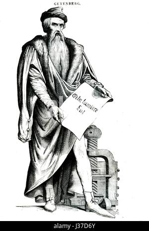 Johannes Gutenberg (1400-1468), German printer during the Renaissance and the inventor of printing in Europe.  Engraving - Stock Photo