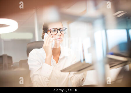 Young businesswoman talking on mobile phone at office - Stock Photo