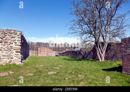 Interior of the Gurre Castle Ruin, a Royal castle from the 12th century in North Zealand near Elsinore in Denmark - Stock Photo