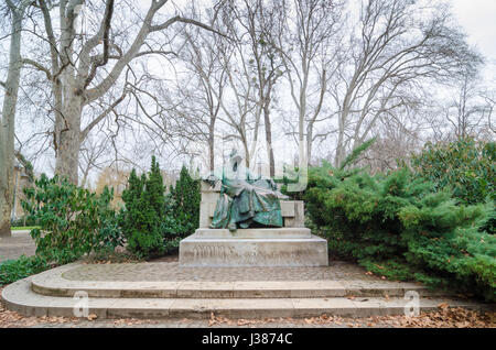 BUDAPEST, HUNGARY - FEBRUARY 23, 2016: Statue of Anonymous - Notary of King Bela, Vajdahunyad Castle in Budapest, - Stock Photo
