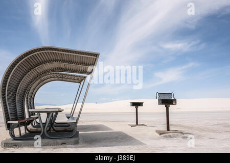 Picnic shelter and grills at White Sands National Monument, New Mexico, United States - Stock Photo