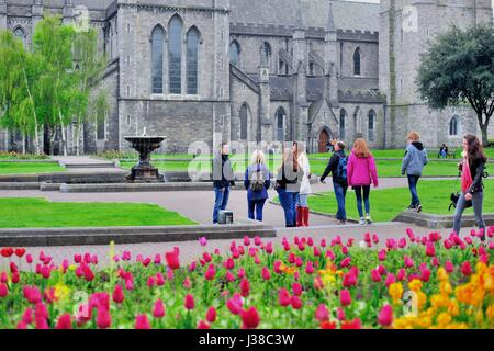 People mingle and interact at a park at St. Patrick's Cathedral in Dublin. The cathedral dates from 1254 to 1270. - Stock Photo