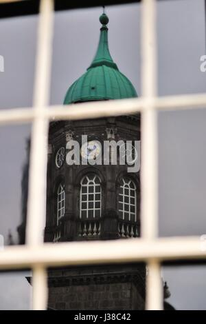 A reflection of Bedford Tower in a window at Dublin Castle. Bedford Tower is built on a base that was an original - Stock Photo